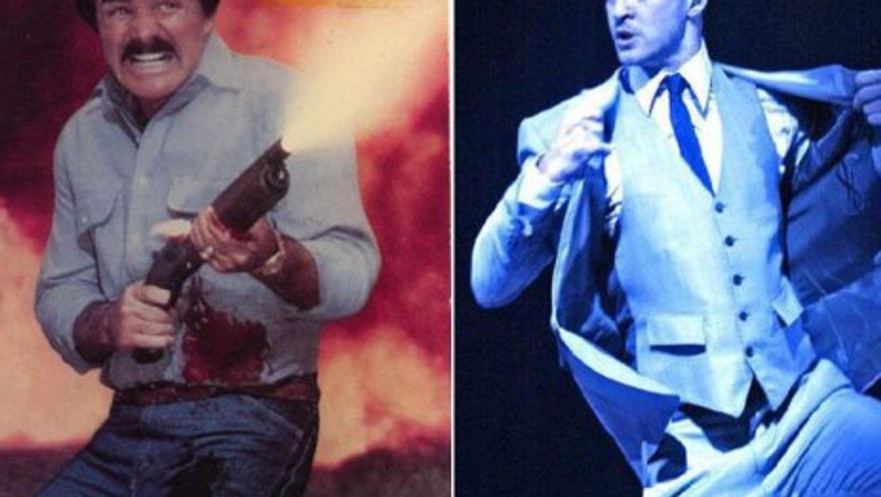 Classic macho men like Burt Reynolds (left) are losing ground to more carefully-coiffed modern guys like Justin Timberlake
