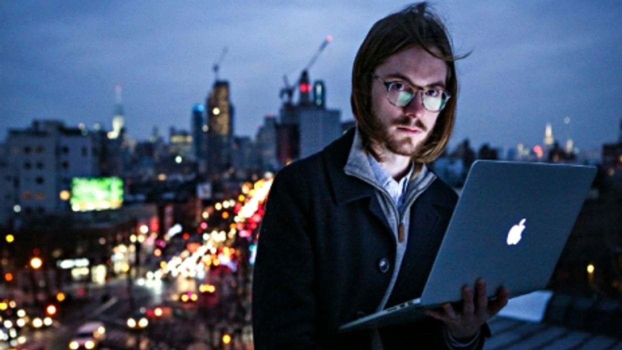 Coder James Knight, a former Google employee, shown on a rooftop in Brooklyn, 2015