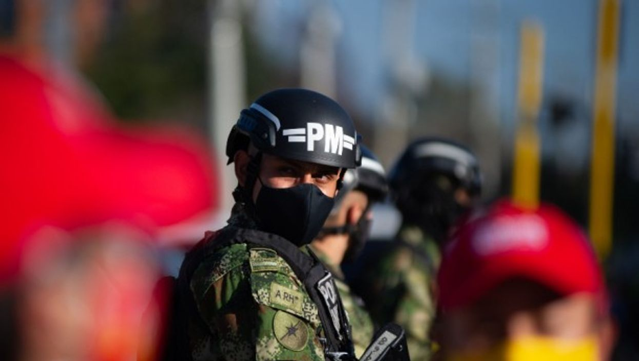 Colombian police and military guard in Bogota, Colombia