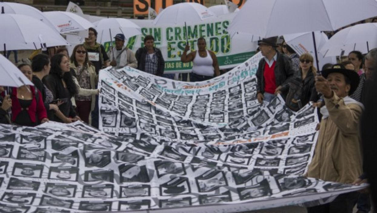 Colombians at a rally for victims of state crimes on Nov. 24, 2017 in Bogota