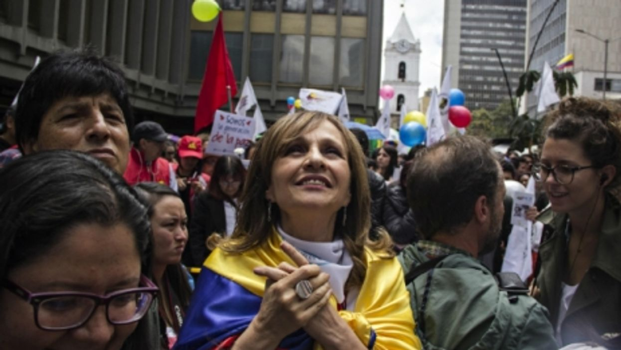 Colombians celebrating the bilateral ceasefire