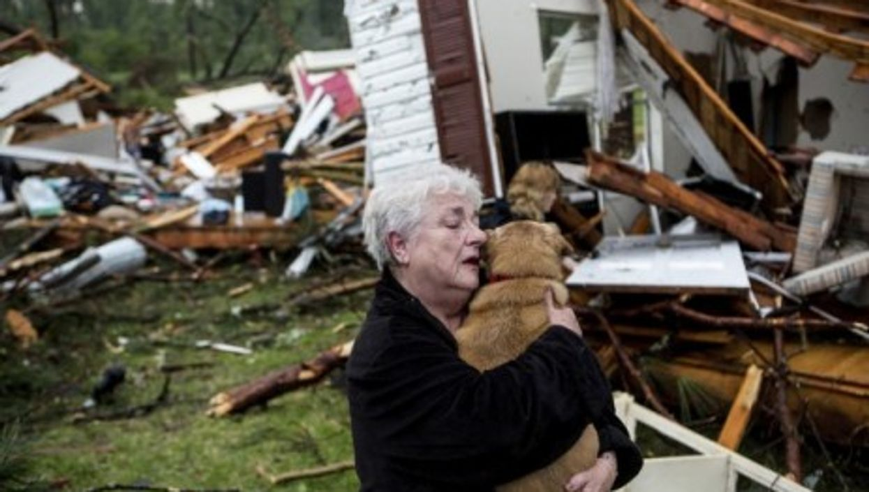 Constance Lambert hugs her dog after finding it alive when she returned to her destroyed home.