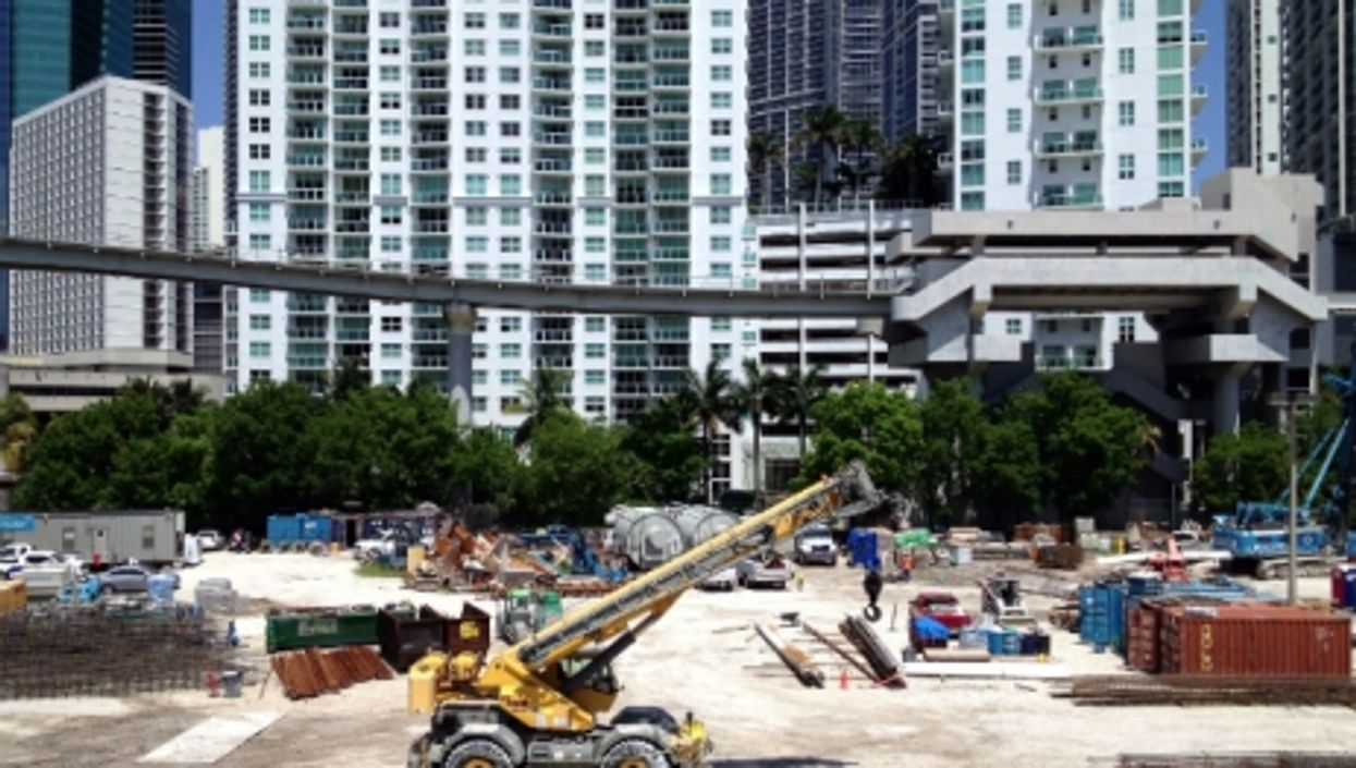 Construction in Miami's Brickell business district.