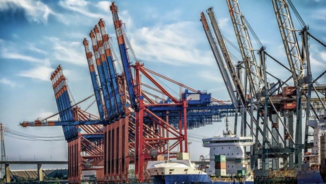 Container ship at Hamburg port