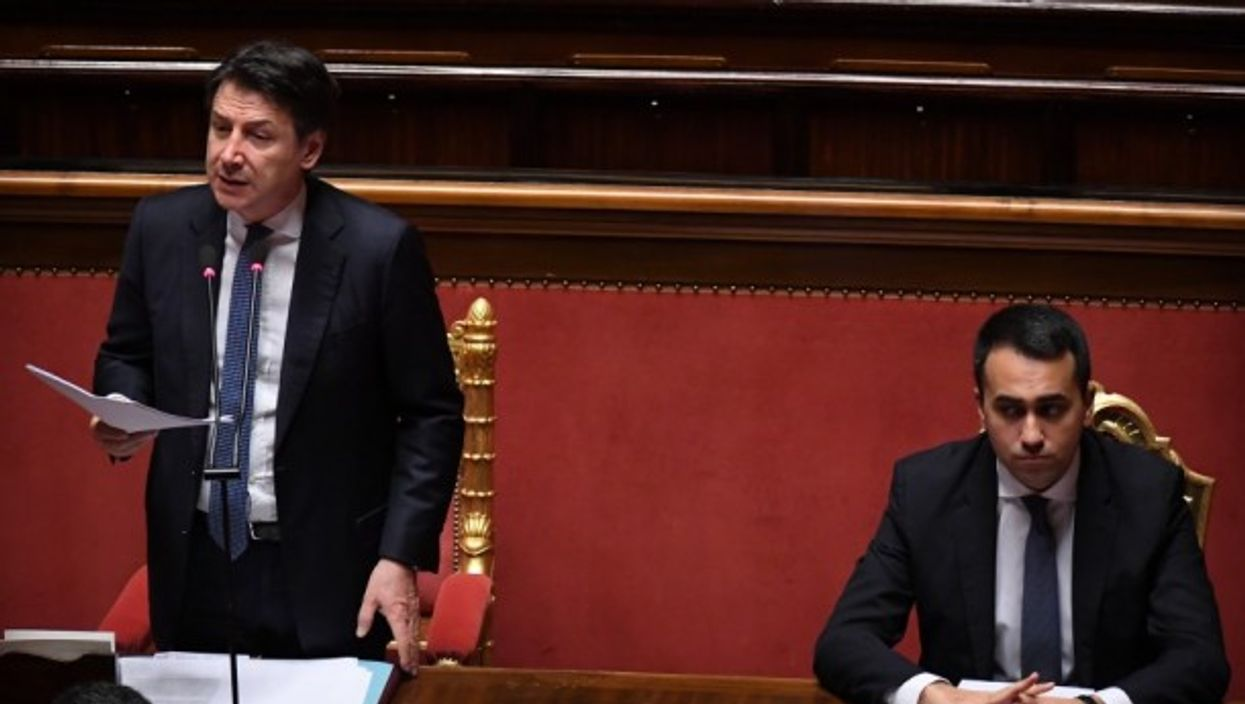 Conte addresses the Italian Parliament last month
