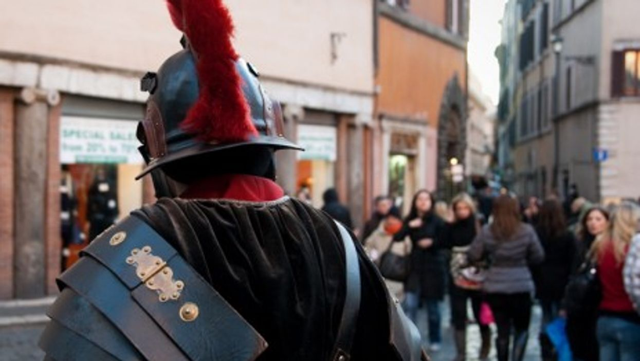 Costumed warriors are a common tourist attraction in Rome, Italy