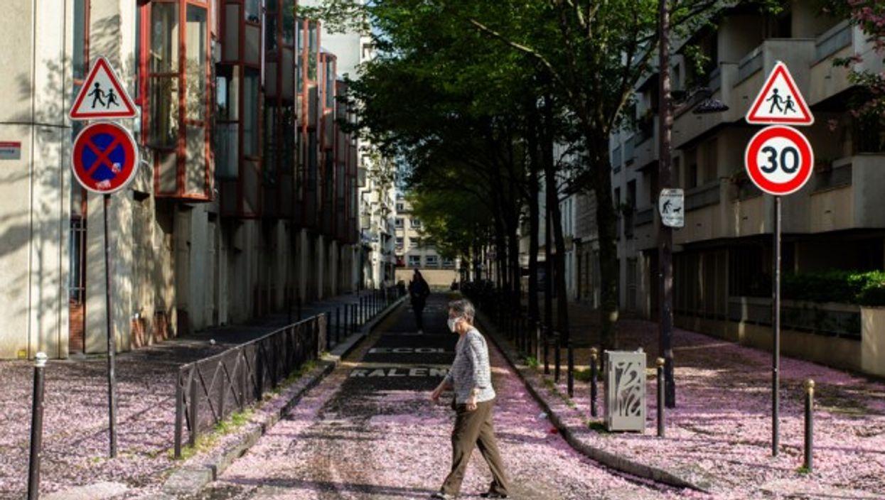 Crossing a street in Paris