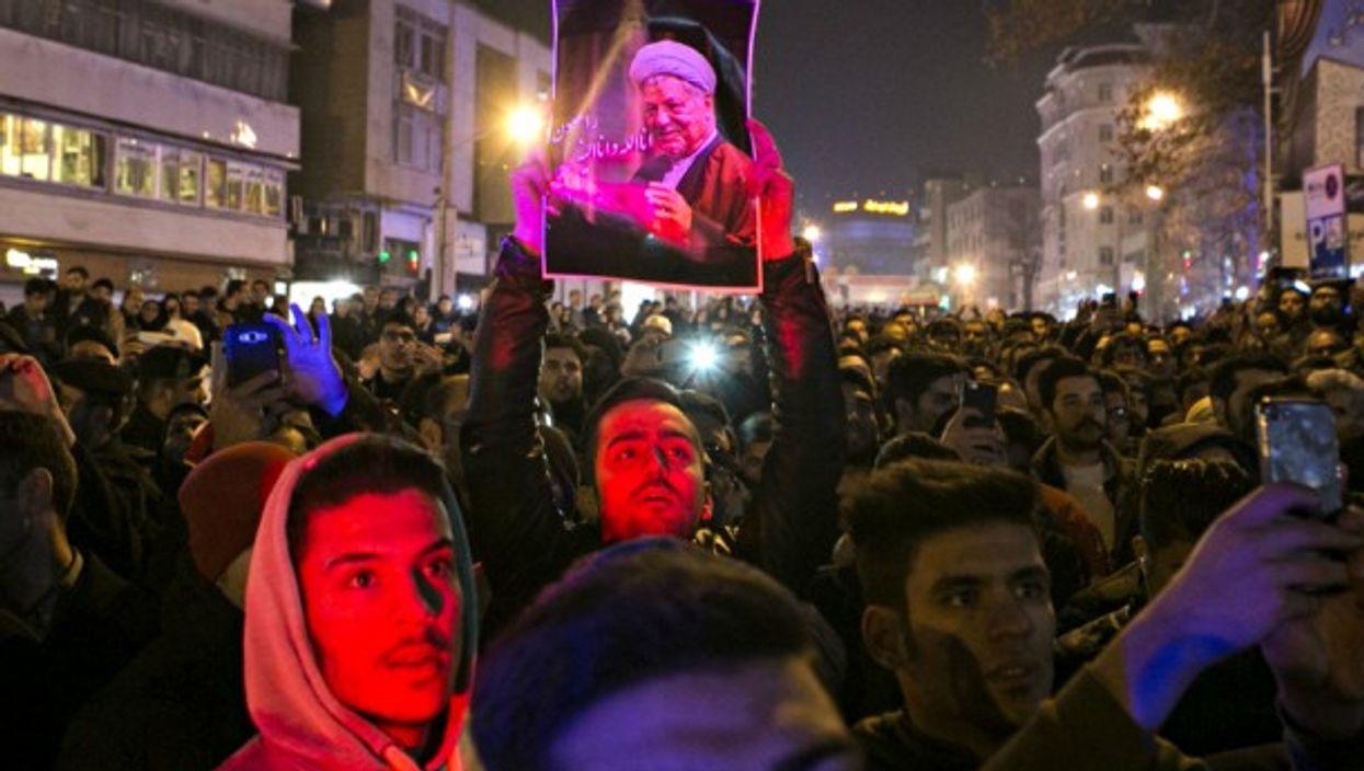 Crowd mourning Rafsanjani in Tehran on Jan. 8