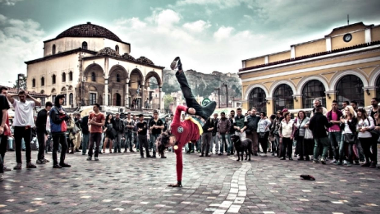 Dancing at Monastiraki Square, Athens
