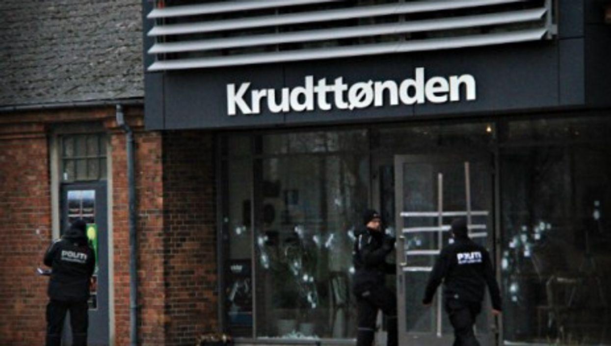 Danish policemen  at Copenhagen's cultural center Krudttoenden that was attacked on Feb. 15