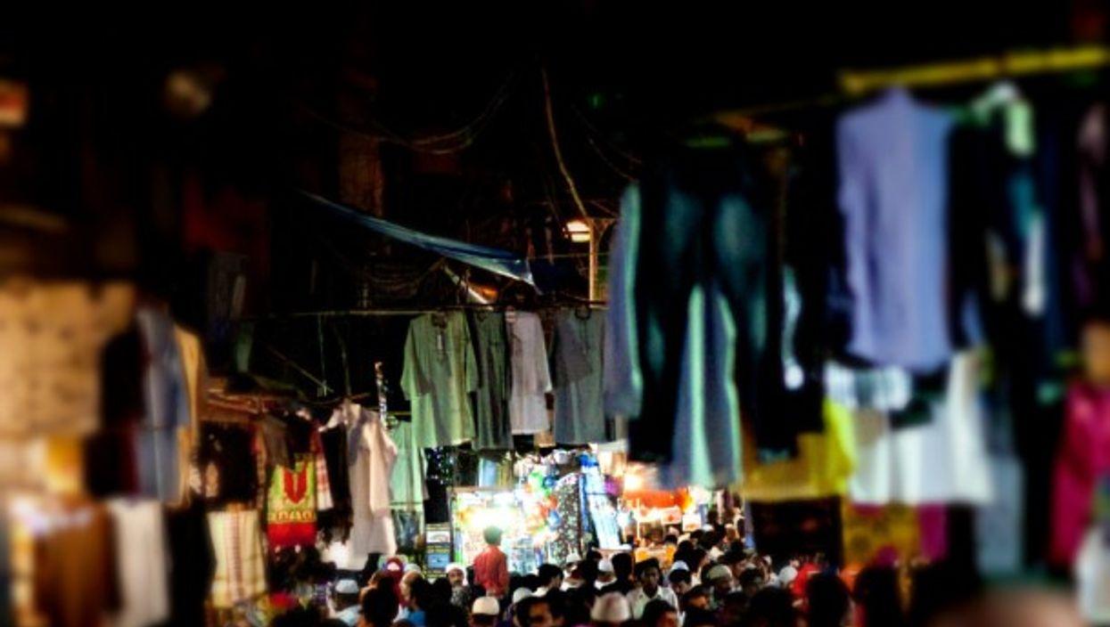 Delhi market at night