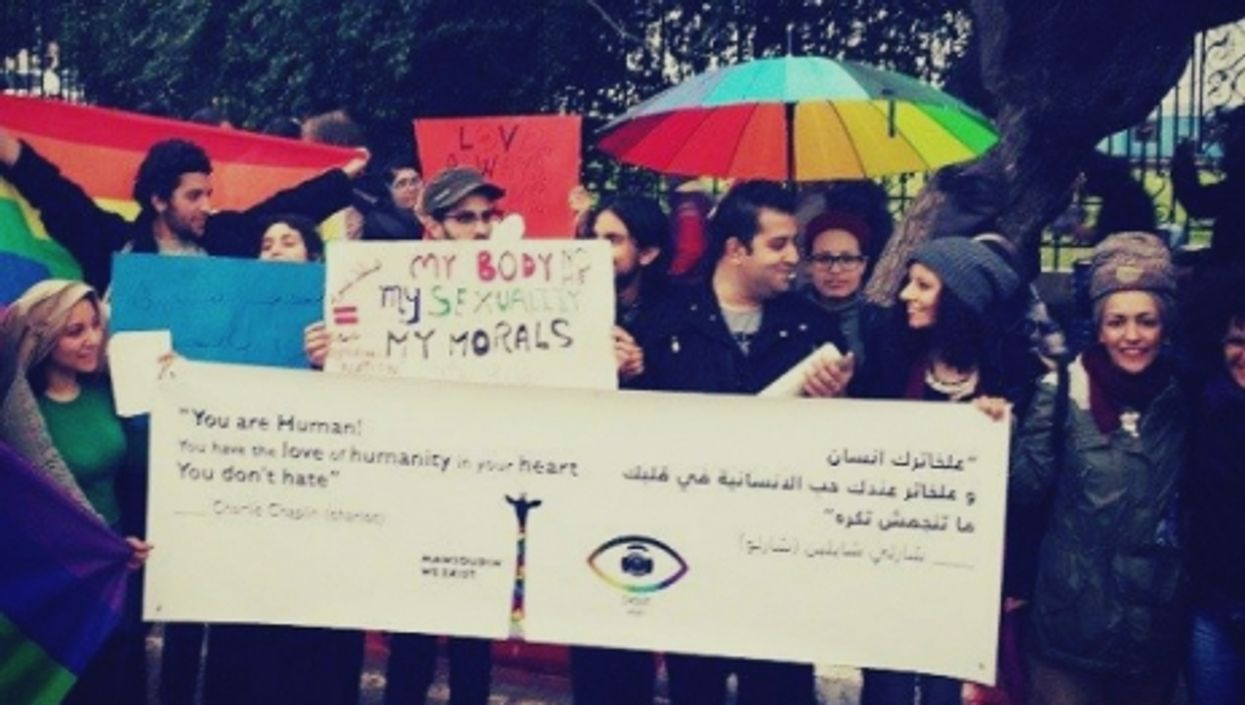 Demonstrating for gay rights in Tunisia.