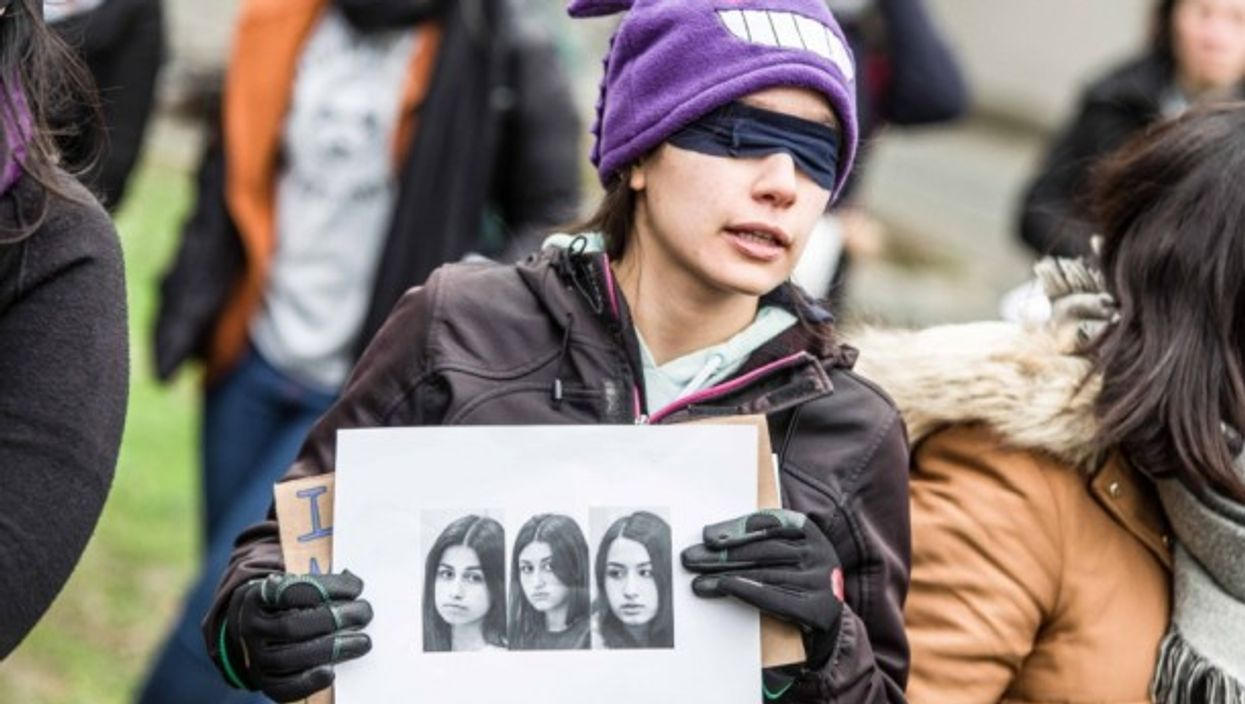 Demonstration in support of the Khachaturian sisters.
