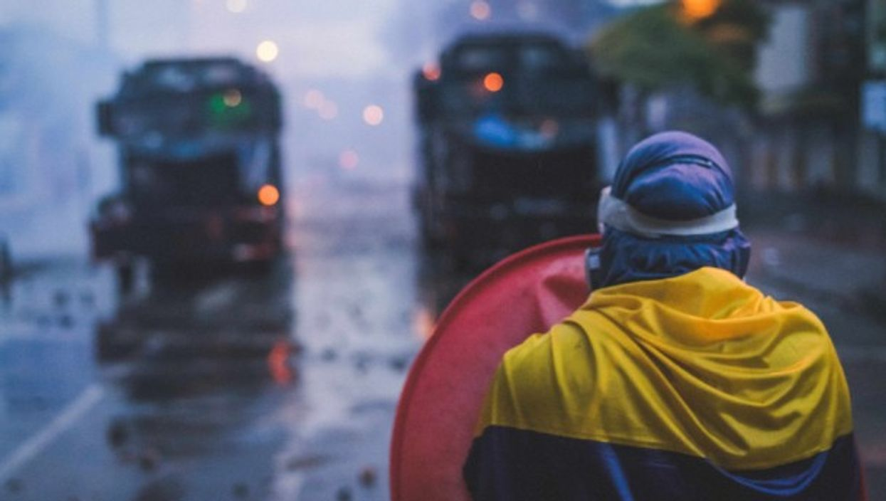 Demonstrators clash with the police in Medellin as protests against the government of Colombian President Ivan Duque continue across the country