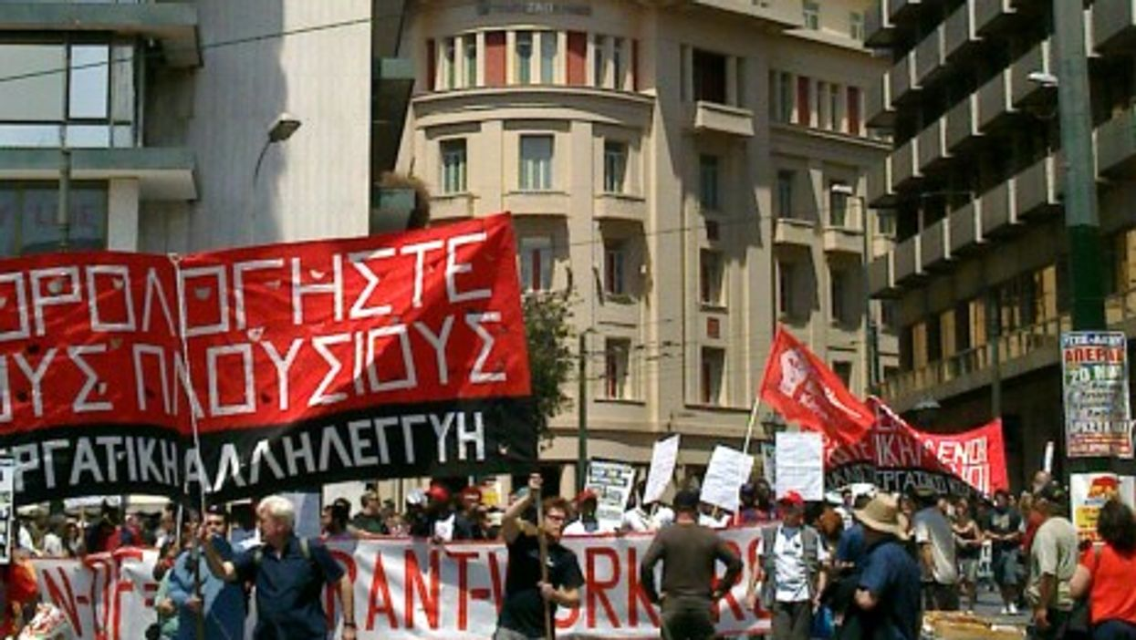 Demonstrators in Athens protesting income inequality