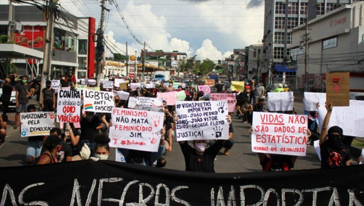 Demonstrators in Manaus