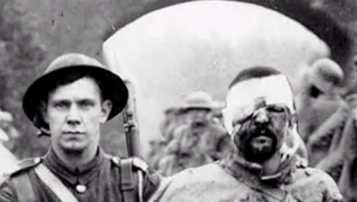 Detail of photograph of WWI soldiers