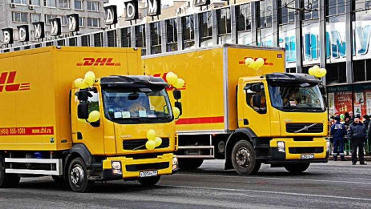 DHL trucks in Moscow