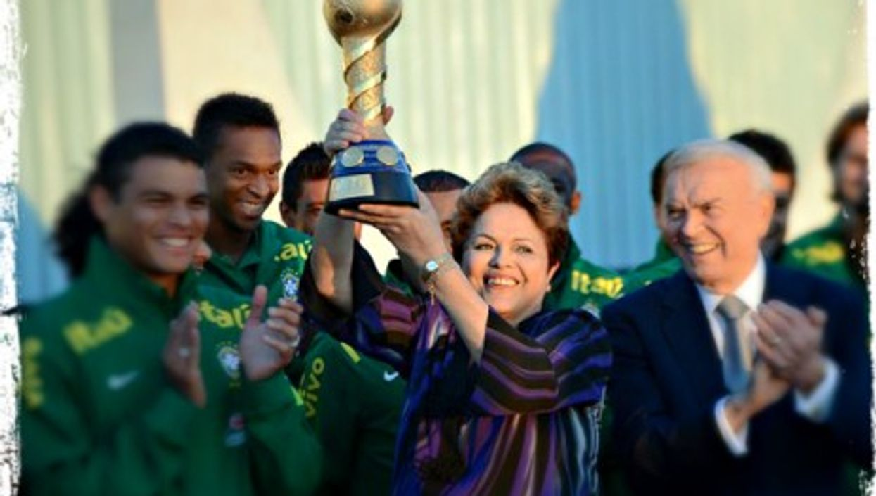 Dilma Rousseff with the 2013 Confederations Cup
