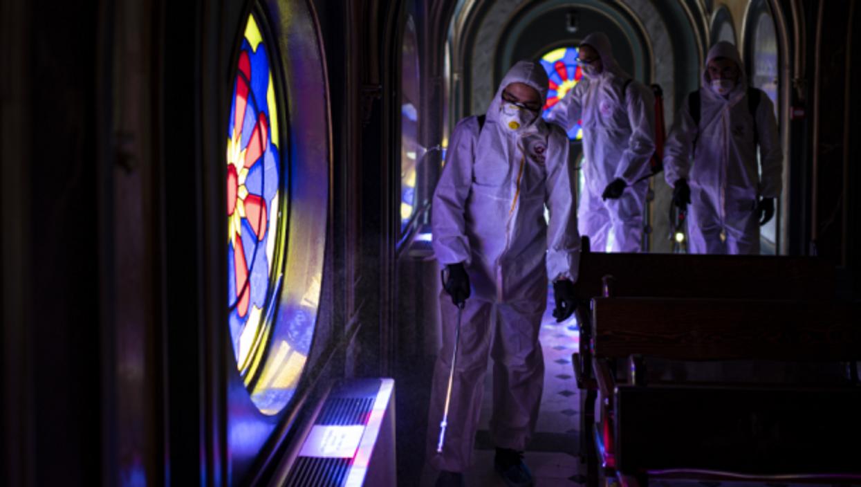 Disinfecting an Armenian church in Istanbul, Turkey