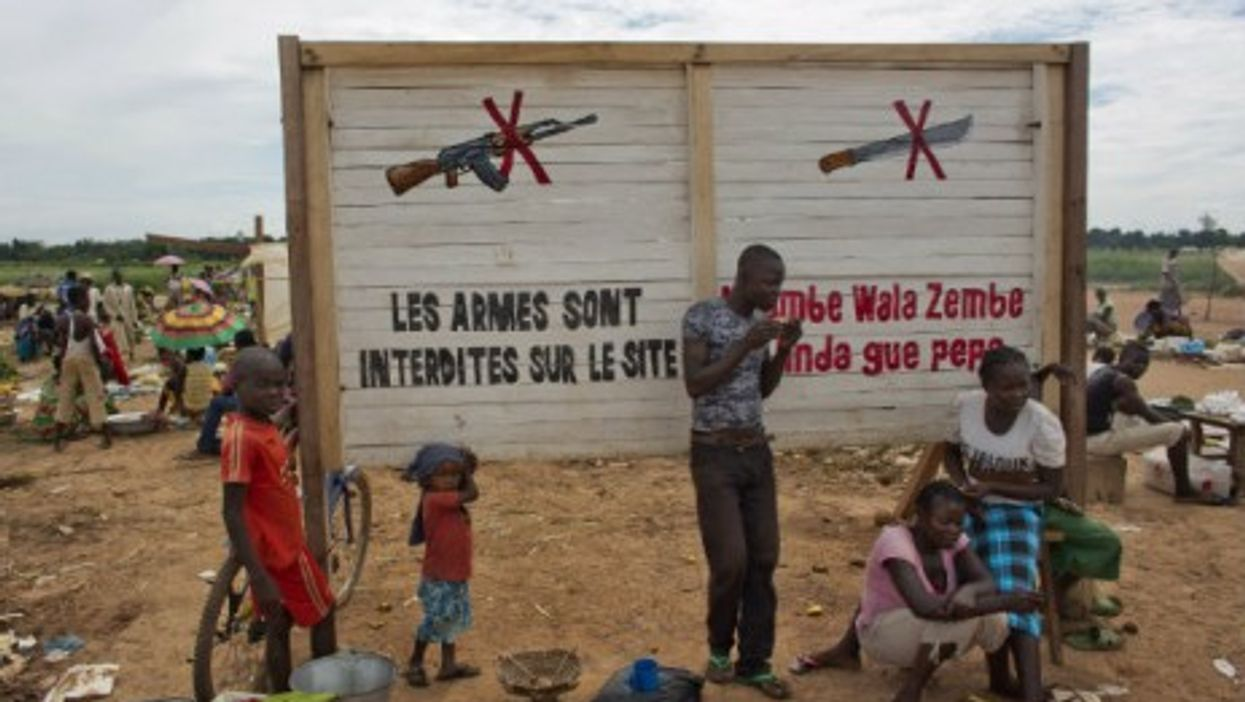 Displaced victims of the war near Bangui airport last spring.