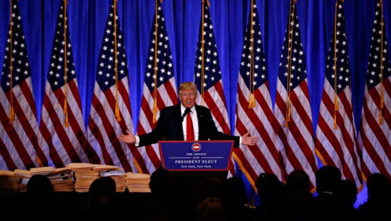 Donald Trump speaking at Jan. 11 press conference in NYC