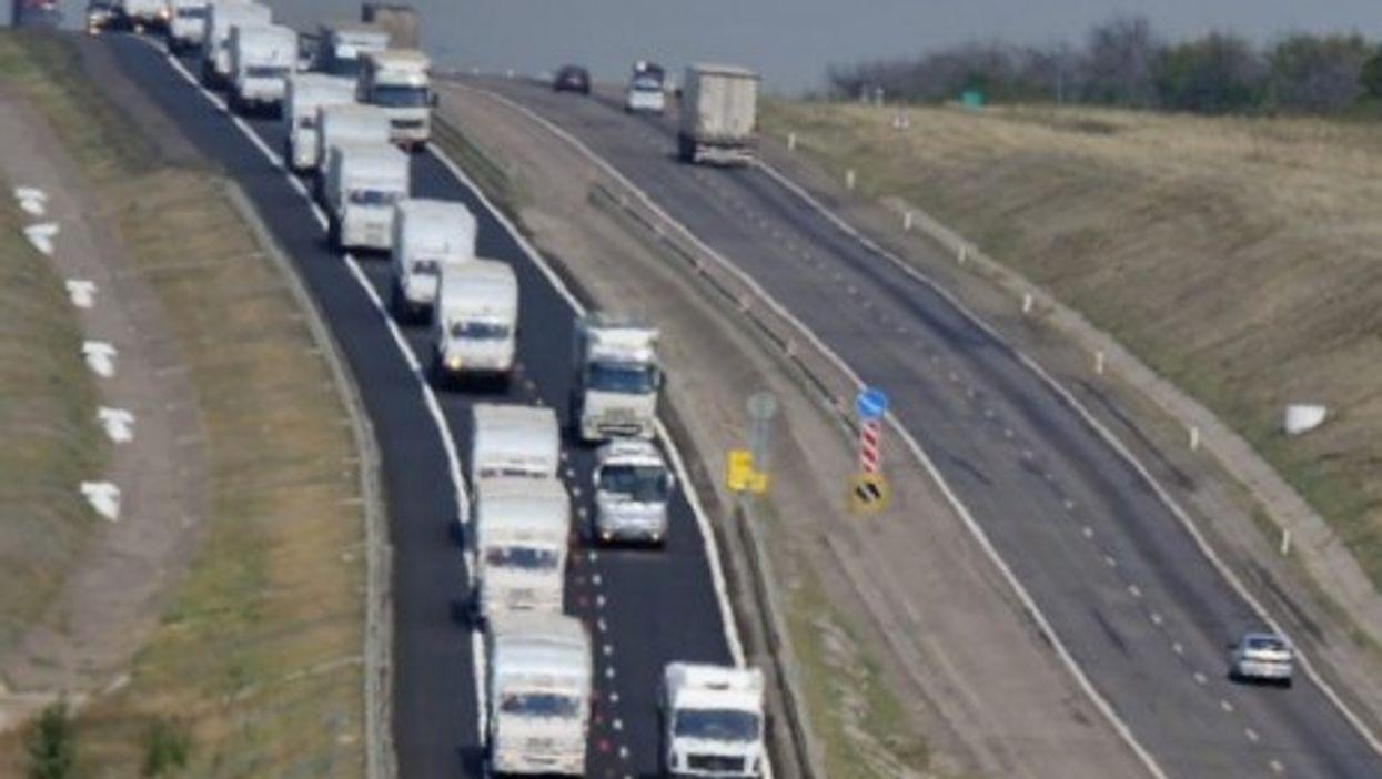Dozens of Russian aid trucks seen approaching Ukraine on Thursday