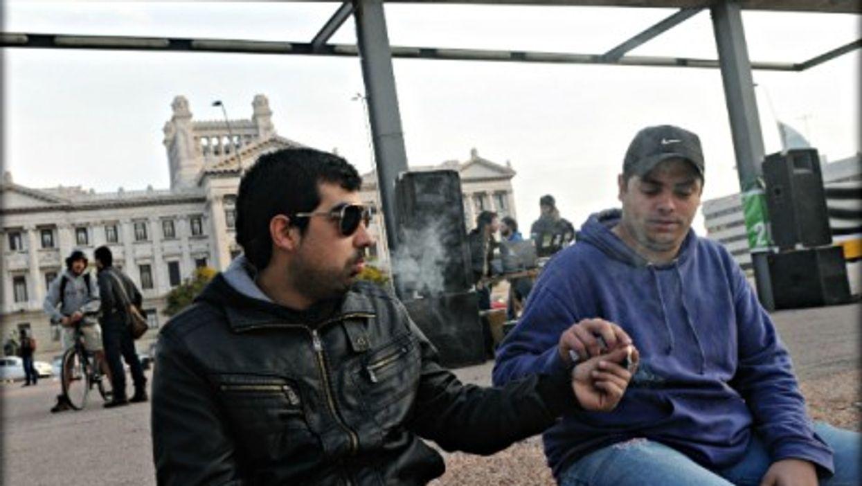 Dude! Smoking marijuana in front of Parliament in Montevideo