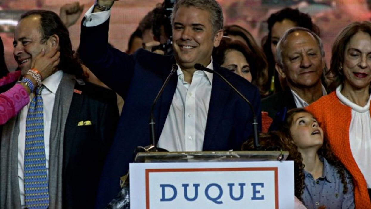 Duque upon arrival at his campaign headquarters in Bogota on June 17