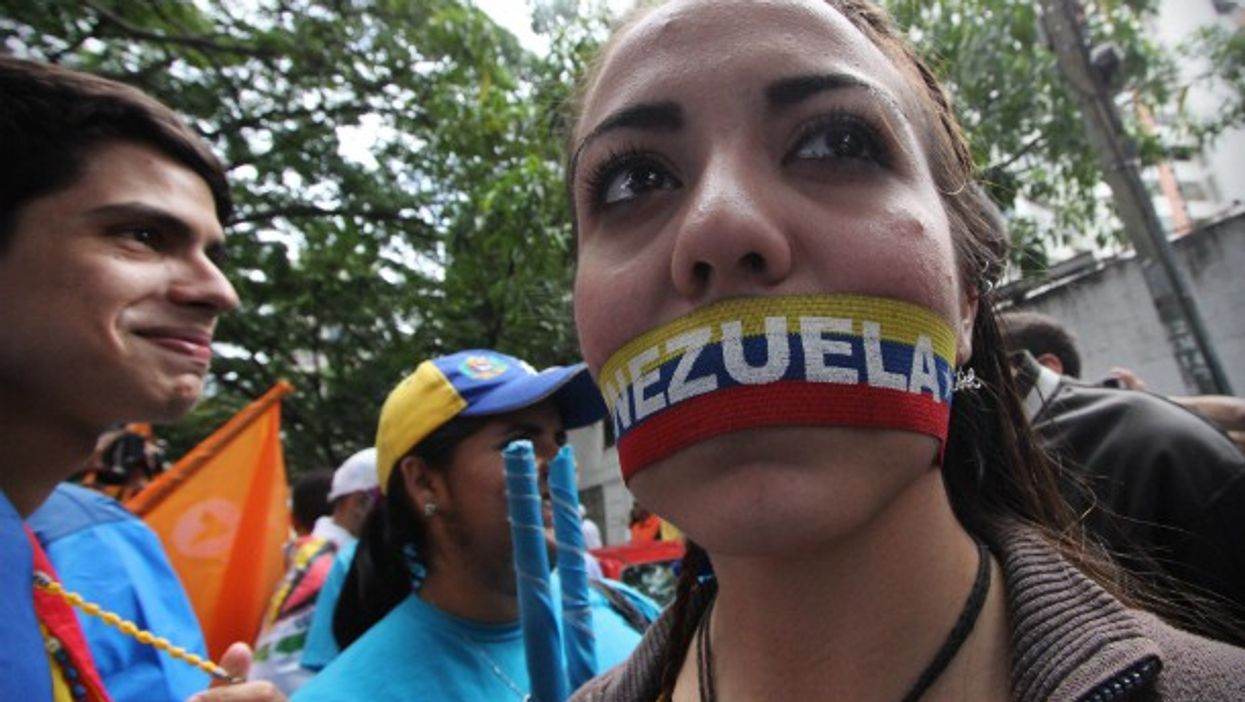 During a protest against President Nicolas Maduro in Caracas.