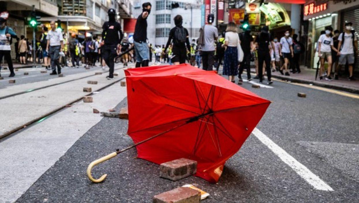 During protests in Hong Kong