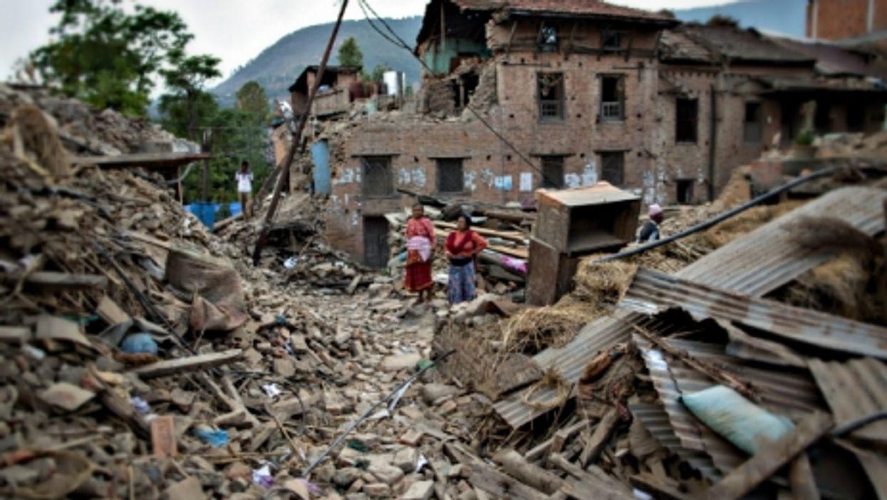 Earthquake survivors in Kathmandu
