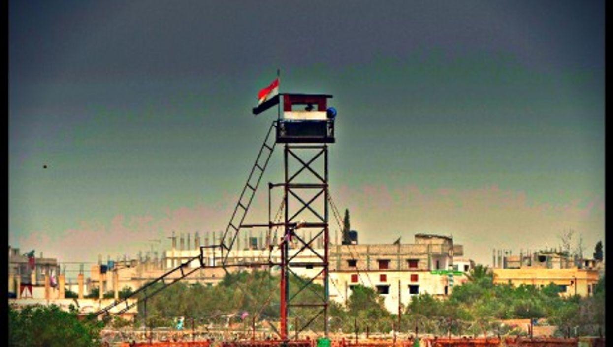 Egyptian watchtower at Rafah checkpoint at the Gaza border