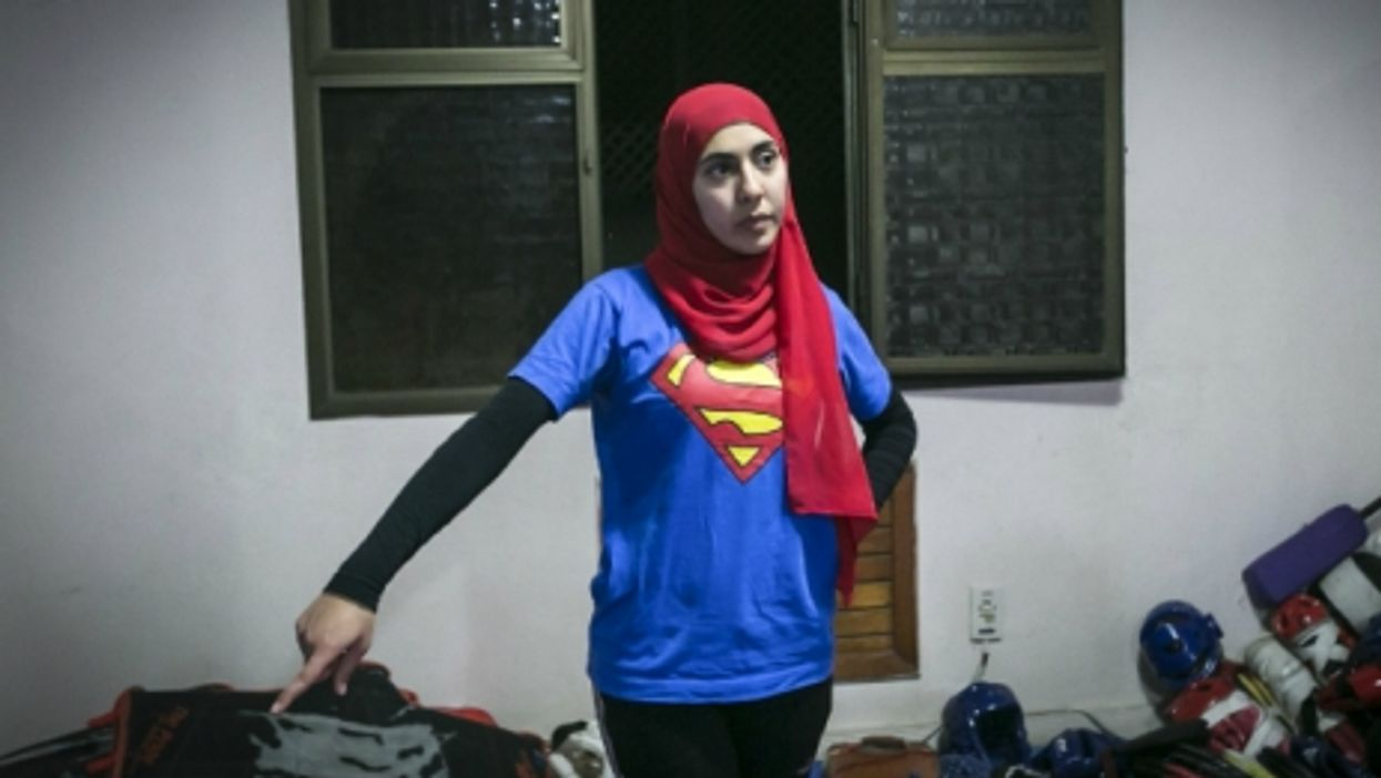 Egyptian woman at a self-defense class in Cairo