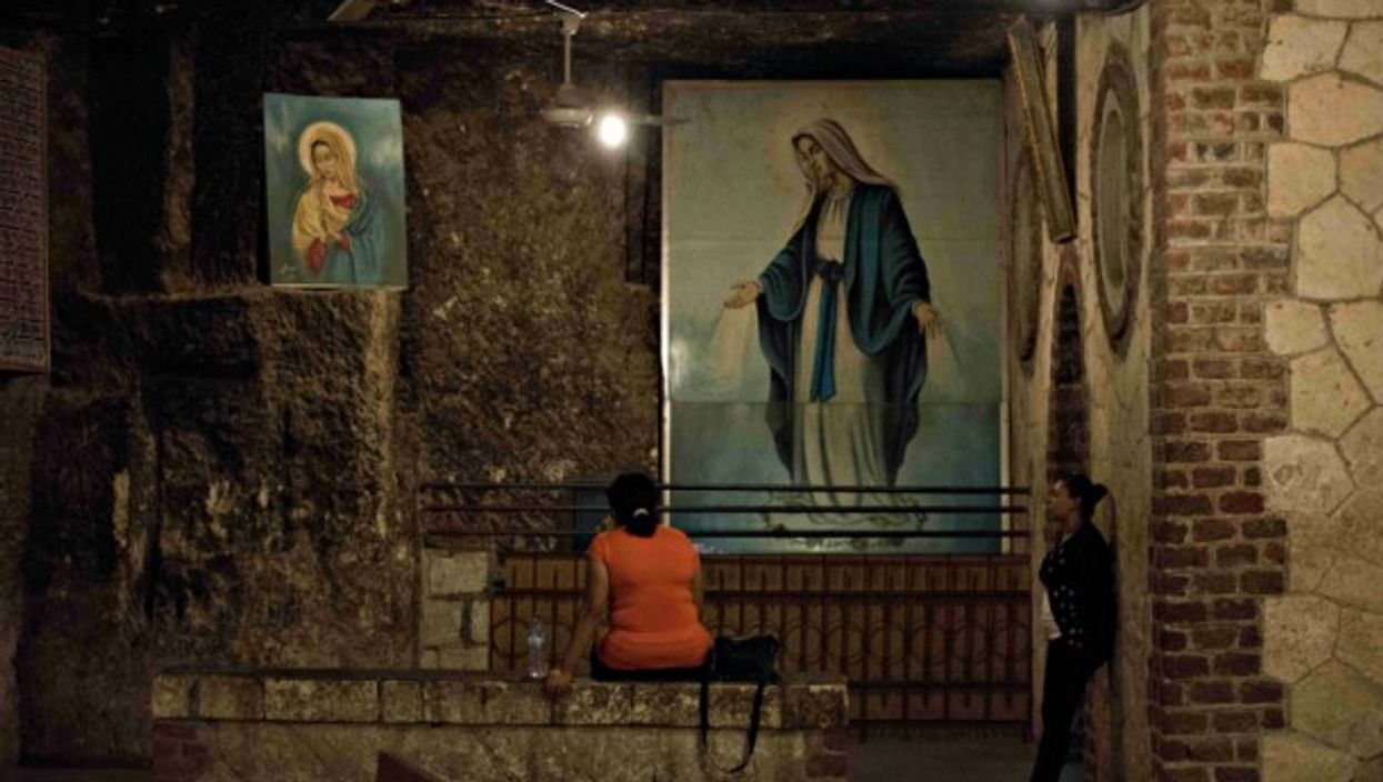 Egyptian women praying in a convent in southern Egypt
