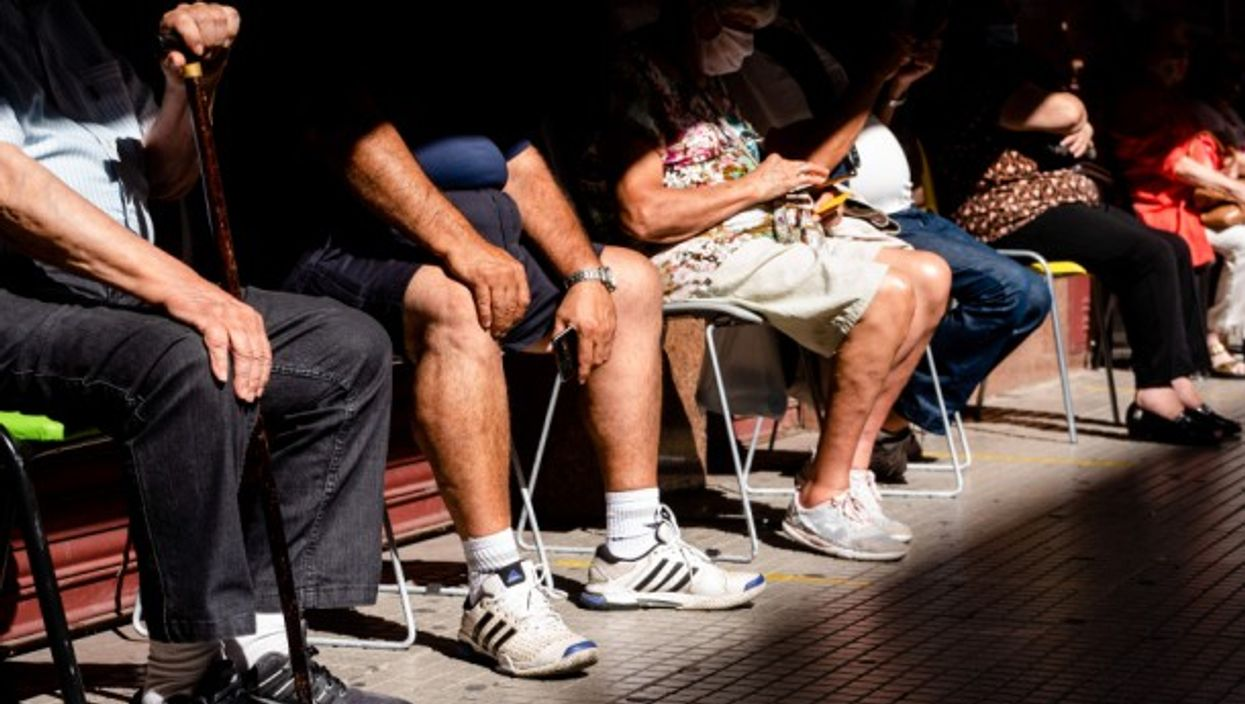 Elderly citizens are waiting to receive the COVID-19 vaccine at Luna Park Stadium in Buenos Aires, Argentina.