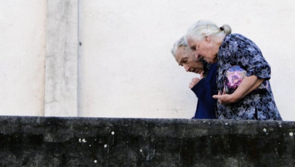 Elderly women take a stroll in the Santa Teresa district of Rio de Janeiro