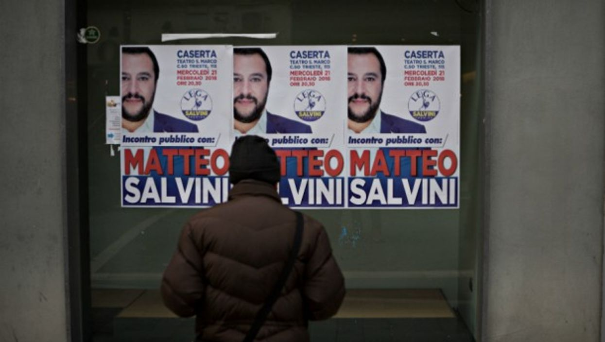 Election posters for Five Star leader Matteo Salvini in Naples