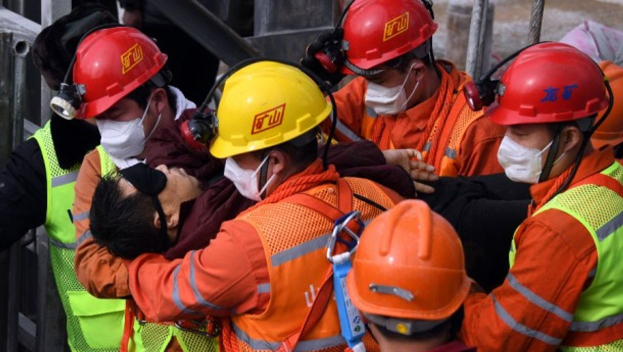 Eleven gold miners in Qixia, China were rescued yesterday after being trapped underground for two weeks following an explosion.