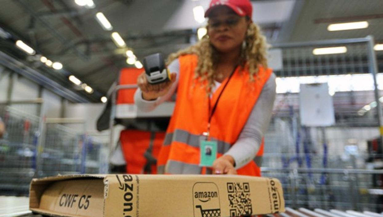 Employee at an Amazon distribution center
