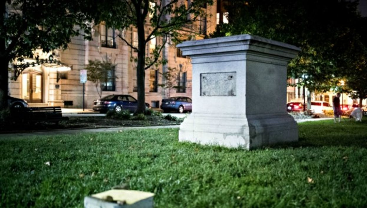 Empty pedestal after a confederate statue was removed in Baltimore on Aug. 17