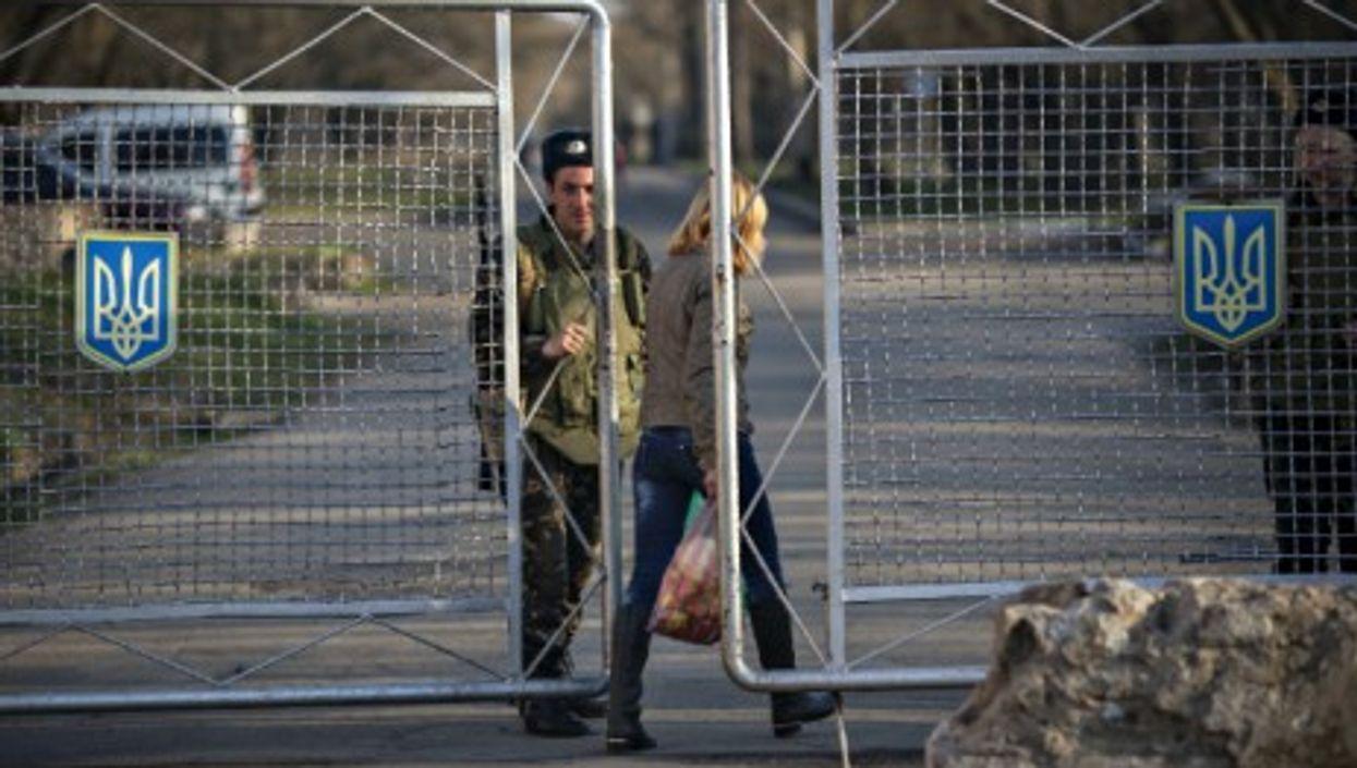 Entrance to an Ukrainian military base near the border with Crimea.