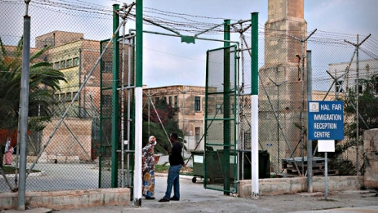 Entrance to the Hal Far refugee camp in Malta
