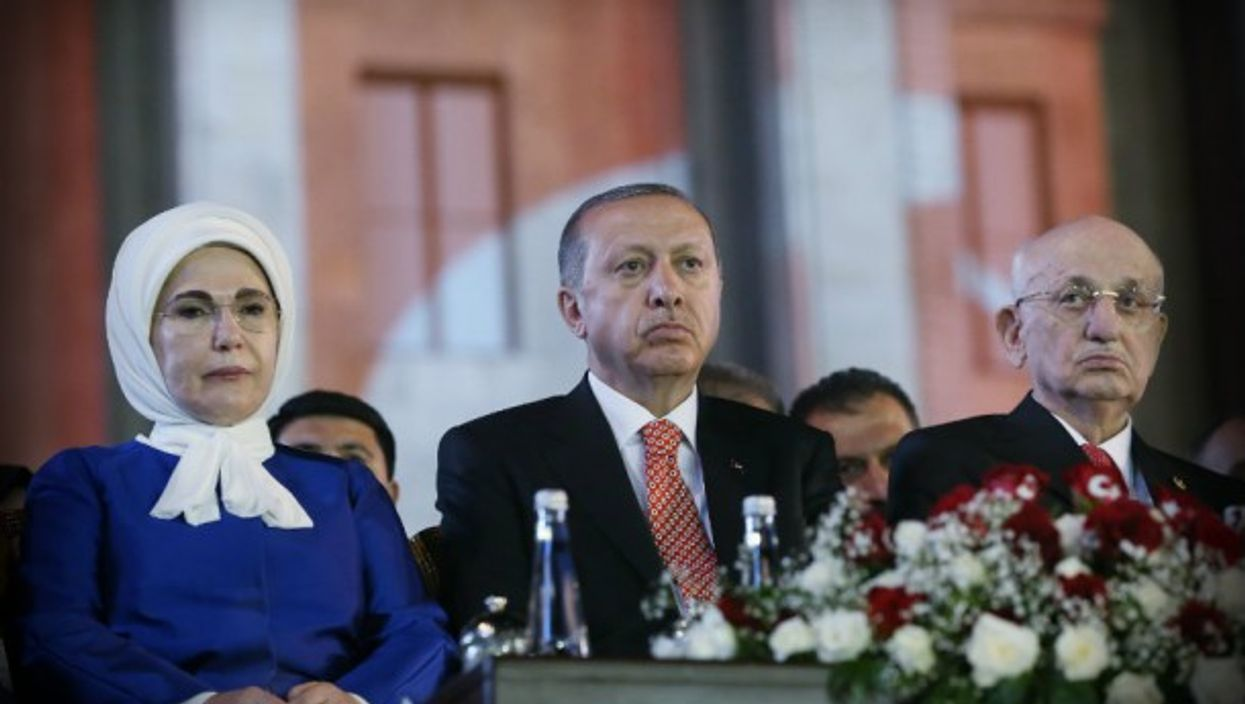 Erdogan, center, marks the coup anniversary in Ankara
