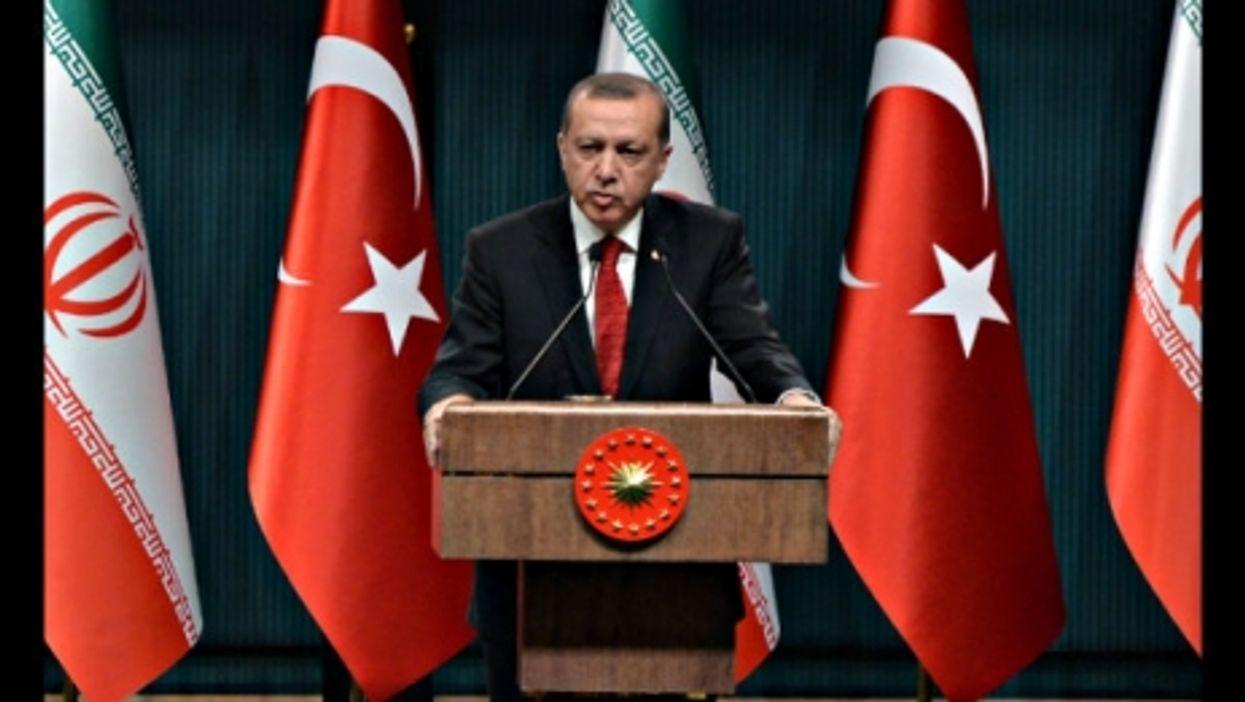 Erdogan on a visit to Iran last month