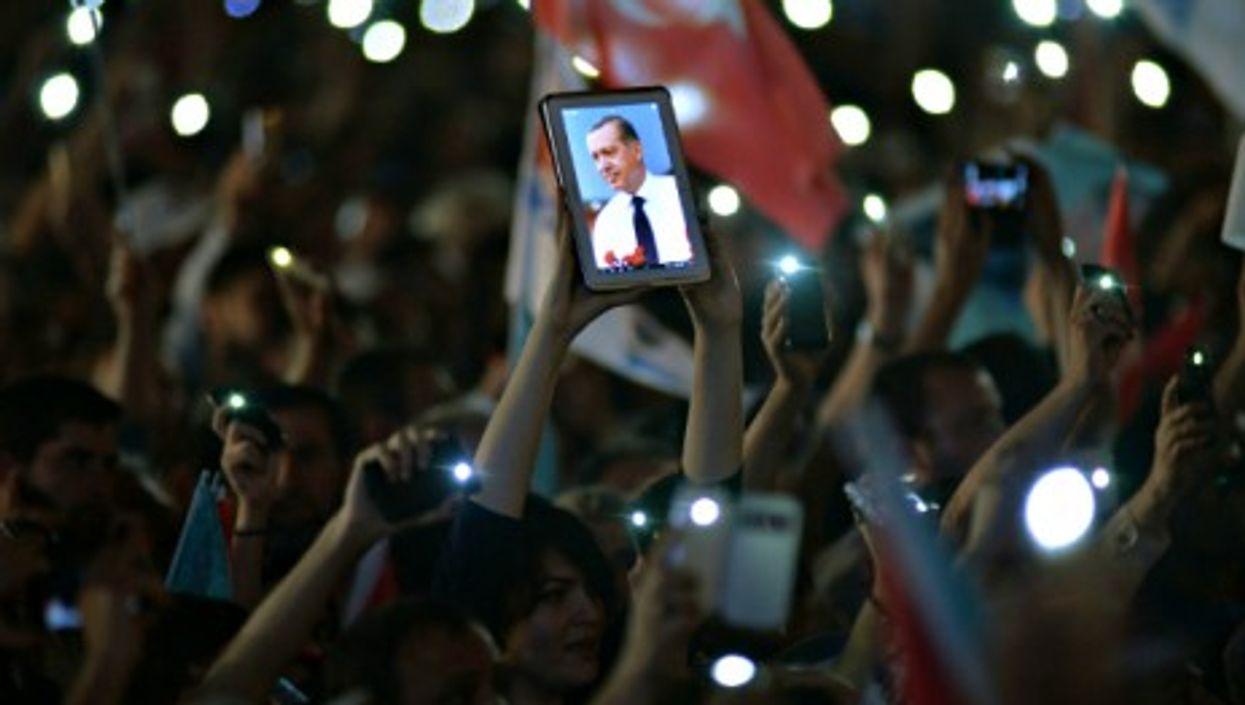 Erdogan supporters in post-victory celebration in Ankara