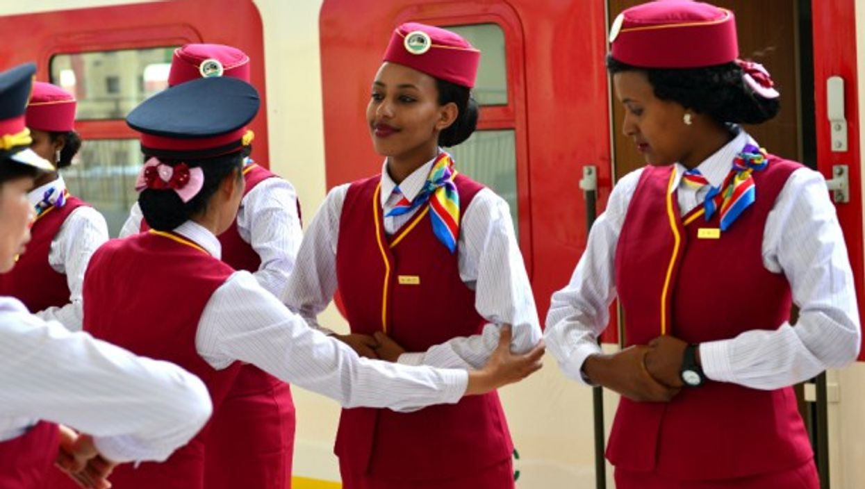 Ethiopian attendants receiving training at a railway station in Addis Ababa