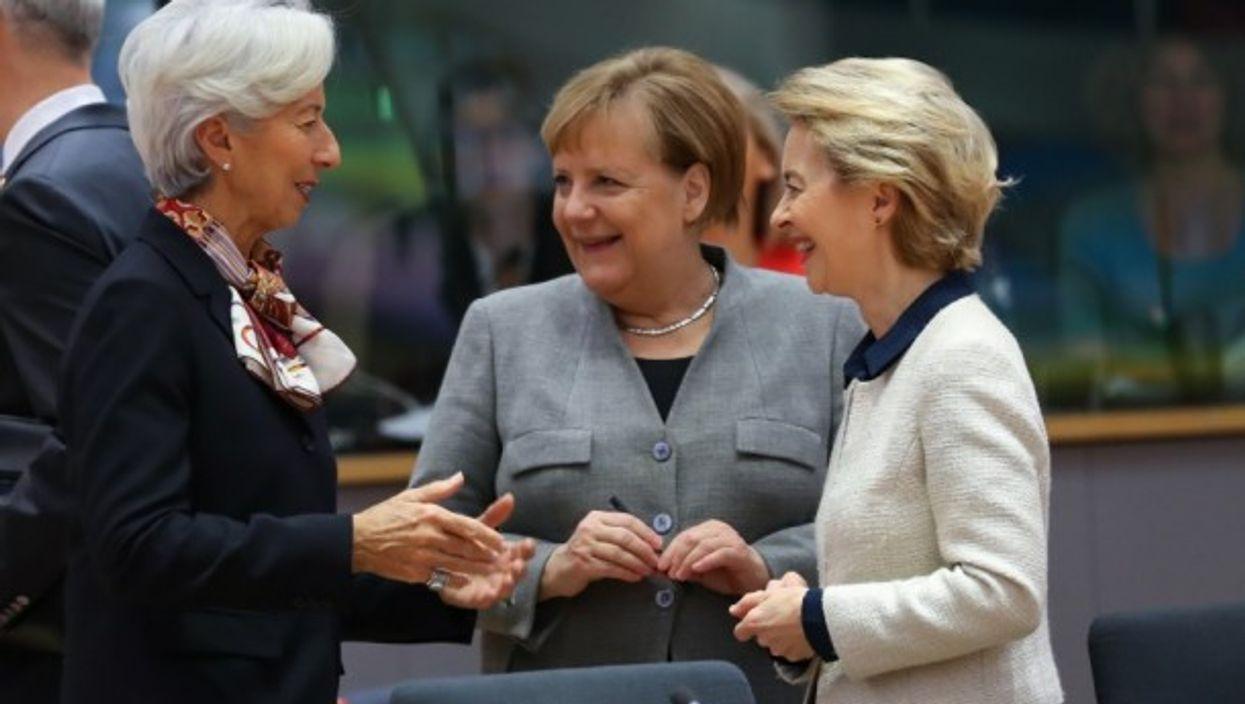 European Commission President Ursula Von Der Leyen, German Chancellor Angela Merkel and ECB President Christine Lagarde.