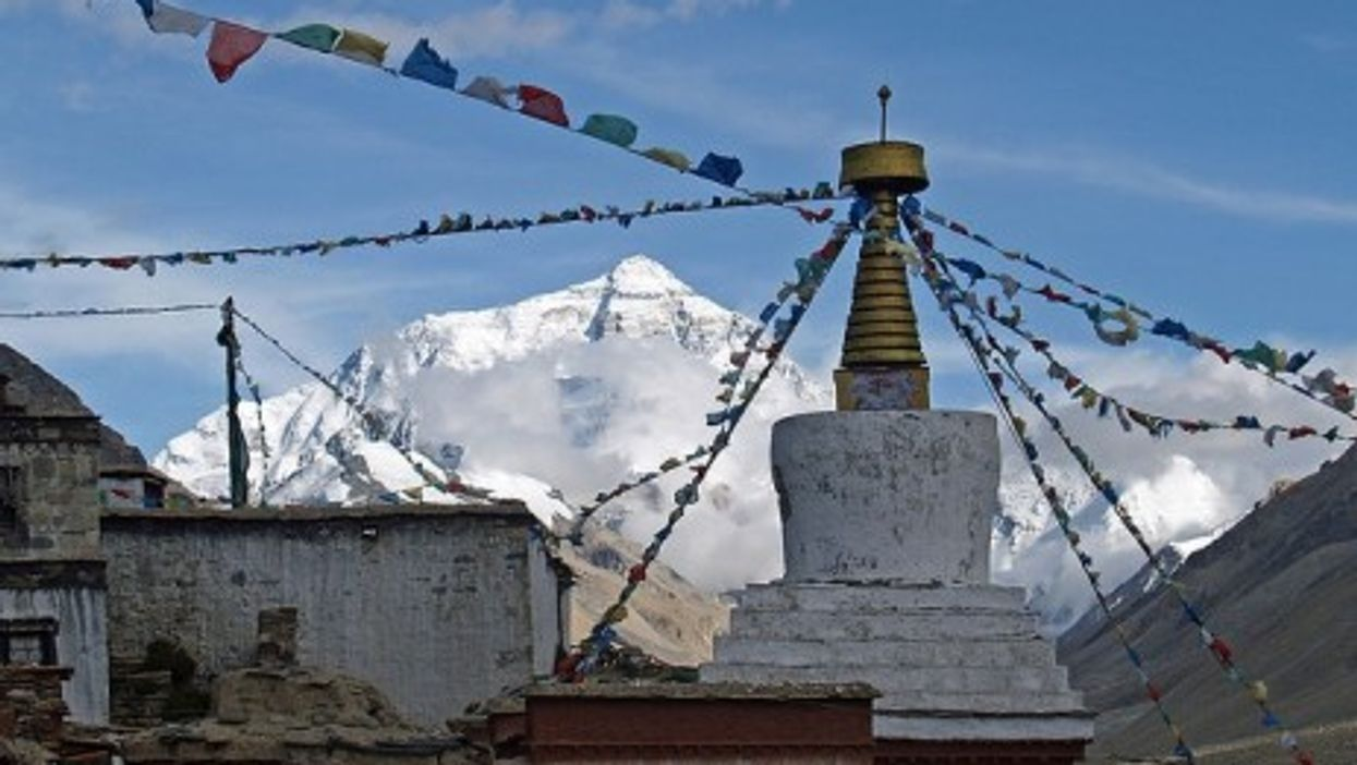 Everest and the Rongbuk Monastery in Nepal