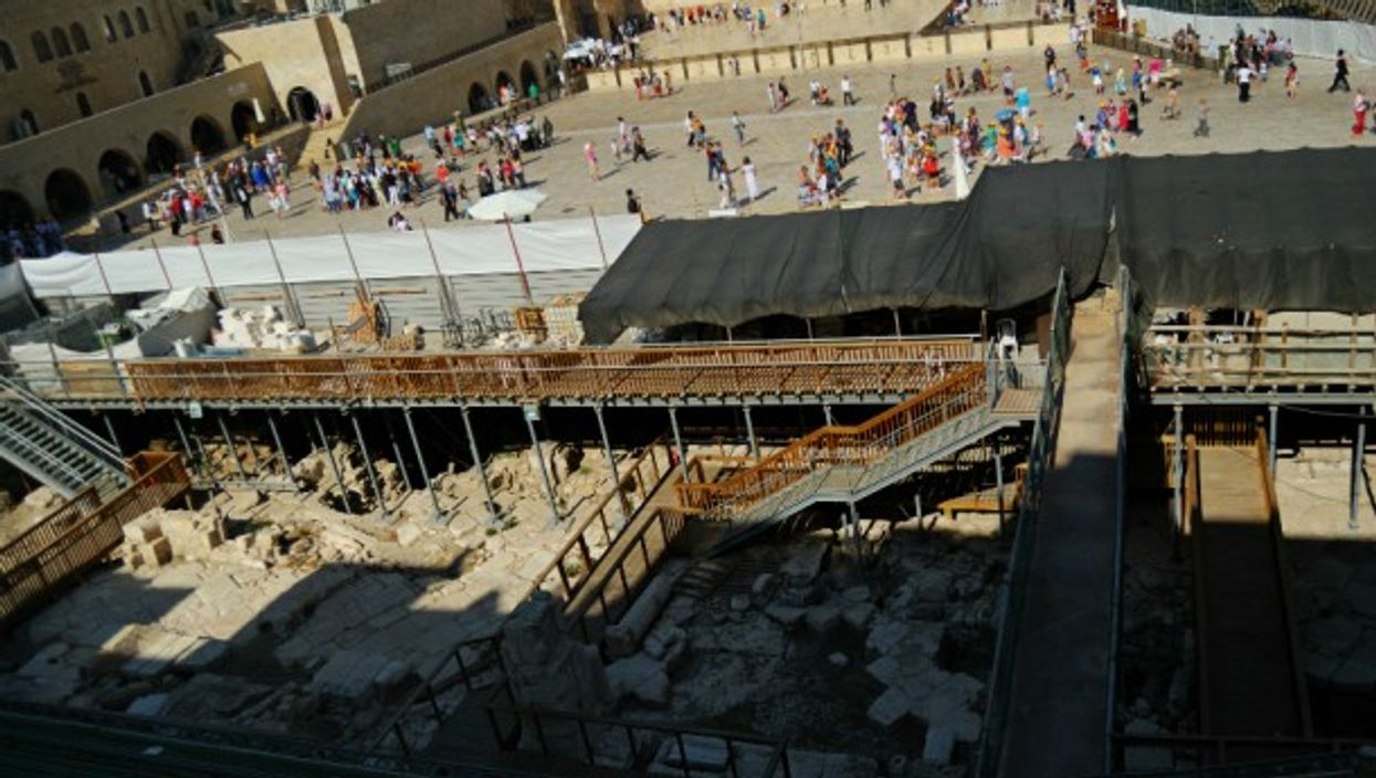 Excavation site in front of the Western Wall in Jerusalem